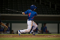 AZL Cubs shortstop Levi Jordan (4) follows through on his swing during an Arizona League game against the AZL Brewers at Sloan Park on June 29, 2018 in Mesa, Arizona. The AZL Cubs 1 defeated the AZL Brewers 7-1. (Zachary Lucy/Four Seam Images)