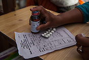 Detail of medicine dosage at the local health centre in Hanuman Nagar in Saptari, Nepal.