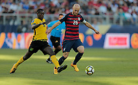 Santa Clara, CA - Wednesday July 26, 2017: Je-Vaughn Watson, Michael Bradley during the 2017 Gold Cup Final Championship match between the men's national teams of the United States (USA) and Jamaica (JAM) at Levi's Stadium.