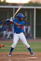 AZL Cubs 2 right fielder Luis Ubiera (21) at bat during an Arizona League game against the AZL Reds at Sloan Park on June 18, 2018 in Mesa, Arizona. AZL Cubs 2 defeated the AZL Reds 4-3. (Zachary Lucy/Four Seam Images)