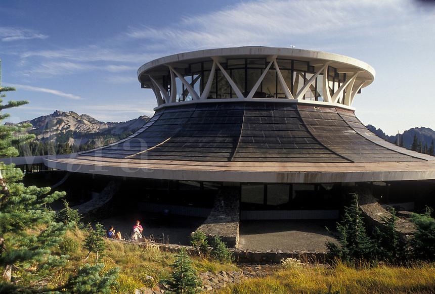 AJ3710, Mount Rainier National Park, Paradise, visitor center, Mt. Rainier, Cascades, Cascade Range, Washington, Henry M. Jackson Visitor Center in Paradise in the Cascade Mountain Range in Mount Rainier Nat'l Park in the state of Washington.