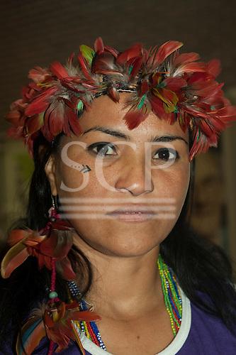 London, England. Sheyla Juruna during the visit of Sheyla Yakarepi Juruna, Chief Almir Narayamoga Surui and Ruth Buendia Mestoquiari Ashaninka to London to highlight the impact of hydroelectric dams proposed for the rivers of the Amazon basin, 02/03/2011.