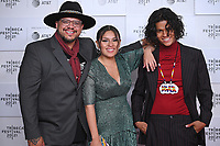 """New York CITY - JUNE 15: (l-r) Writer and Director Sterlin Harjo, Paulina Alexis and D'Pharaoh Woon-A-Tai attend the Tribeca Festival screening of FX's """"Reservation Dogs"""" on June 15, 2021 in New York City. (Photo by Anthony Behar/FX/PictureGroup)"""