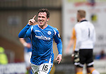 Motherwell v St Johnstone….07.05.16  Fir Park, Motherwell<br />Danny Swanson celebrates his goal<br />Picture by Graeme Hart.<br />Copyright Perthshire Picture Agency<br />Tel: 01738 623350  Mobile: 07990 594431