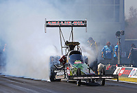 Mar. 15, 2013; Gainesville, FL, USA; NHRA top fuel dragster driver Terry McMillen during qualifying for the Gatornationals at Auto-Plus Raceway at Gainesville. Mandatory Credit: Mark J. Rebilas-