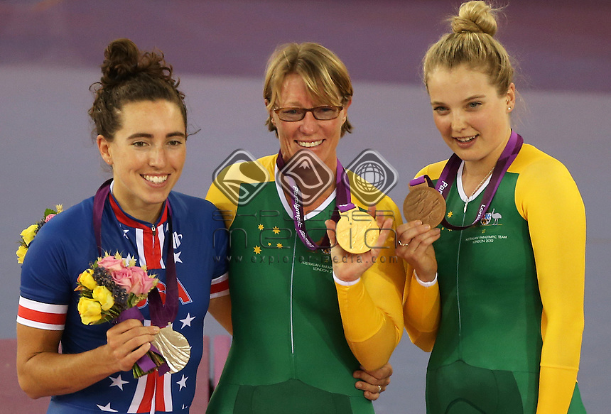 Megan Fisher (USA), Susan Powell (AUS) and Alexandra Green (AUS) on the podium after the Women's C4 Individual Pursuit.<br /> Track Cycling, Velodrome, Olympic Park (Thursday 29th Aug)<br /> Paralympics - Summer / London 2012<br /> London England 29 Aug - 9 Sept <br /> © Sport the library/Joseph Johnson