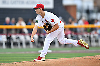 Johnson City Cardinals starting pitcher Cole Aker (37) delivers a pitch during a game against the Princeton Rays at TVA Credit Union Ballpark on August 9, 2018 in Johnson City, Tennessee. The Rays defeated the Cardinals 10-2. (Tony Farlow/Four Seam Images)
