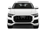 Car photography straight front view of a 2019 Audi Q8 - 5 Door SUV Front View