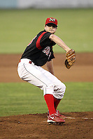 Batavia Muckdogs Pitcher John Gast (35) delivers a pitch during a game vs. the Lowell Spinners at Dwyer Stadium in Batavia, New York July 14, 2010.   Batavia defeated Lowell 12-2.  Photo By Mike Janes/Four Seam Images