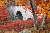 Carriage road bridge framed by autumn foliage, Mount Desert Island, Acadia National Park, near Bar Harbor, Maine, USA