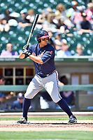 Gwinnett Braves left fielder Matt Tuiasosopo (5) awaits a pitch during a game against the Charlotte Knights at BB&T Ballpark on May 7, 2017 in Charlotte, North Carolina. The Knights defeated the Braves 7-1. (Tony Farlow/Four Seam Images)
