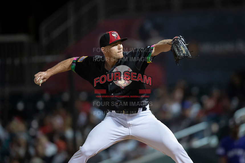 El Paso Chihuahuas relief pitcher Tyler Higgins (13) during a Pacific Coast League game against the Albuquerque Isotopes at Southwest University Park on May 10, 2019 in El Paso, Texas. Albuquerque defeated El Paso 2-1. (Zachary Lucy/Four Seam Images)