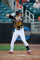 Aberdeen IronBirds Dalton Hoiles (23) at bat during a NY-Penn League game against the Vermont Lake Monsters on August 18, 2019 at Leidos Field at Ripken Stadium in Aberdeen, Maryland.  Vermont defeated Aberdeen 6-5.  (Mike Janes/Four Seam Images)