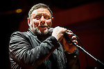 """© Joel Goodman - 07973 332324 . 05/02/2016 . Manchester , UK . SHAUN RYDER . """" Hacienda Classical """" debut at the Bridgewater Hall . The 70 piece Manchester Camerata and performers including New Order's Peter Hook , Shaun Ryder , Rowetta Idah , Bez and Hacienda DJs Graeme Park and Mike Pickering mixing live compositions . Photo credit : Joel Goodman"""