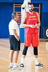 Conversation between Sergio Scariolo (l) and Marc Gasol during the training of Spanish National Team of Basketball. August 06, 2019. (ALTERPHOTOS/Francis González)