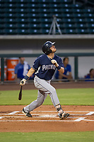 AZL Padres 2 right fielder Mason House (40) follows through on his swing against the AZL Cubs on August 28, 2017 at Sloan Park in Mesa, Arizona. AZL Cubs defeated the AZL Padres 2 9-4. (Zachary Lucy/Four Seam Images)