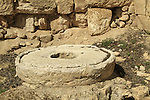 Remains of a Byzantine olive press at Ramat Rachel Archaeological Garden