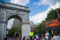 NEW YORK, NEW YORK - JUNE 1: Protesters gather in Washington Square Park on June 1, 2020 in New York. The protests spread across the country in at least 30 cities across the United States, over the death of unarmed black man George Floyd at the hands of a police officer, this is the latest death in a series of police deaths of black Americans. Today is the first night of a curfew in New York City (Photo by Pablo Monsalve / VIEWpress via Getty Images)