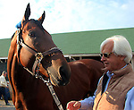 May 03, 2015 American Pharoah greeted fans and media the day after winning the 141st Kentucky Derby at Churchill Downs in Louisville, Kentucky. He is pictured here with trainer Bob Baffert.  ©Mary M. Meek/ESW/CSM