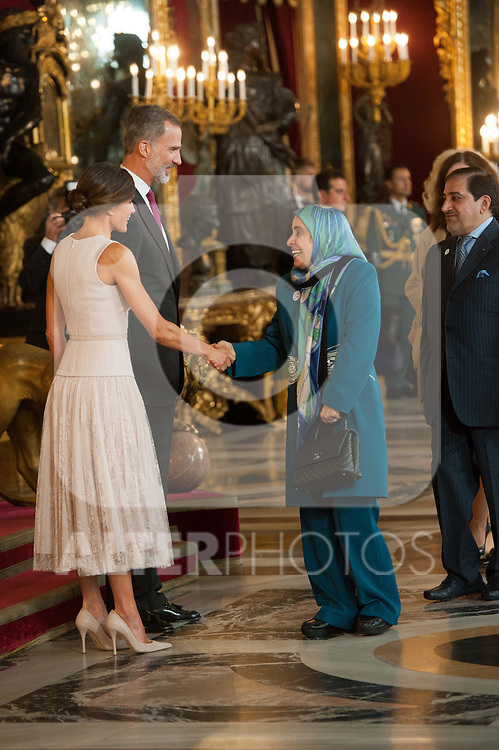Queen Letizia of Spain, King Felipe VI of Spain attends to Sapnish National Day palace reception at the Royal Palace in Madrid, Spain. October 12, 2018. (ALTERPHOTOS/A. Perez Meca)