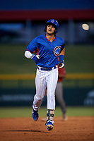 AZL Cubs 2 Chase Strumpf (15) jogs off the field during an Arizona League game against the AZL Dbacks on June 25, 2019 at Sloan Park in Mesa, Arizona. AZL Cubs 2 defeated the AZL Dbacks 4-0. (Zachary Lucy/Four Seam Images)
