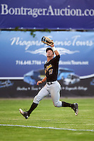 West Virginia Black Bears left fielder Hunter Owen (37) chases down a fly ball during a game against the Batavia Muckdogs on June 29, 2016 at Dwyer Stadium in Batavia, New York.  West Virginia defeated Batavia 9-4.  (Mike Janes/Four Seam Images)