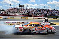 May 6, 2012; Commerce, GA, USA: NHRA  pro stock driver Jason Line during the Southern Nationals at Atlanta Dragway. Mandatory Credit: Mark J. Rebilas-