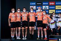 Team Netherlands finishing 2nd<br /> <br /> Mixed Relay TTT <br /> Team Time Trial from Knokke-Heist to Bruges (44.5km)<br /> <br /> UCI Road World Championships - Flanders Belgium 2021<br /> <br /> ©kramon