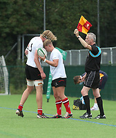 Saturday 5th September 2021<br /> <br /> Charlie Irvine give the call to Andrew Donald during U19 inter-pro between Ulster Rugby and Leinster at Newforge Country Club, Belfast, Northern Ireland. Photo by John Dickson/Dicksondigital