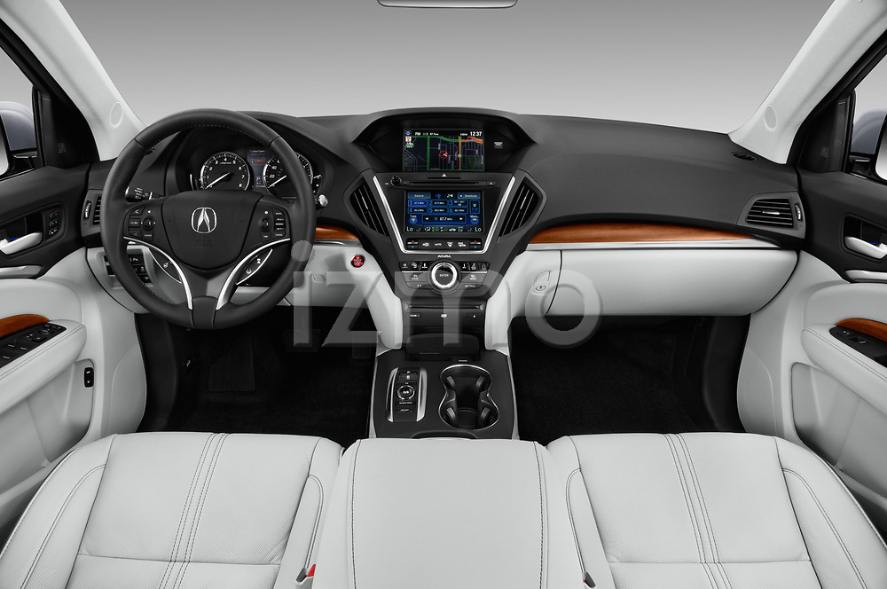 Stock photo of straight dashboard view of 2017 Acura MDX Sport Hybrid SH-AWD Advance Package 5 Door SUV
