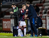Bolton Wanderers' Ali Crawford is congratulated on his performance after being substituted by head coach  Ian Evatt (right) <br /> <br /> Photographer Andrew Kearns/CameraSport<br /> <br /> The EFL Sky Bet League Two - Stevenage v Bolton Wanderers - Saturday 21st November 2020 - Lamex Stadium - Stevenage<br /> <br /> World Copyright © 2020 CameraSport. All rights reserved. 43 Linden Ave. Countesthorpe. Leicester. England. LE8 5PG - Tel: +44 (0) 116 277 4147 - admin@camerasport.com - www.camerasport.com