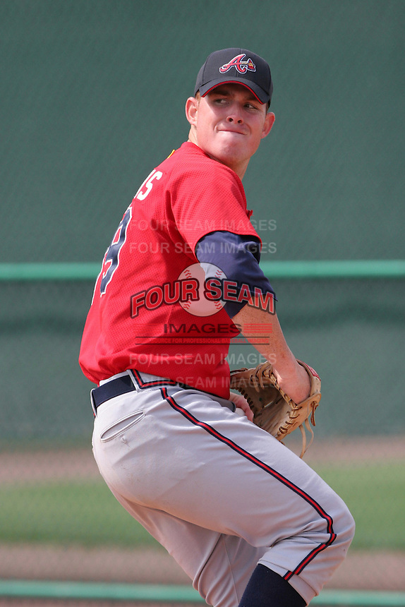 Atlanta Braves minor leaguer Jake Stevens during Spring Training at Disney's Wide World of Sports on March 14, 2007 in Orlando, Florida.  (Mike Janes/Four Seam Images)