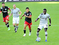 WASHINGTON, DC - NOVEMBER 8: Zachary Brault-Guillard #15 of Montreal Impact moves the ball during a game between Montreal Impact and D.C. United at Audi Field on November 8, 2020 in Washington, DC.