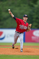 Elizabethton Twins starting pitcher Miles Nordgren (9) in action against the Kingsport Mets at Hunter Wright Stadium on July 8, 2015 in Kingsport, Tennessee.  The Mets defeated the Twins 8-2. (Brian Westerholt/Four Seam Images)