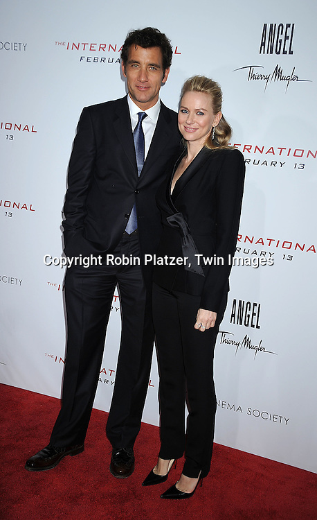 """actors Clive Owen and Naomi Watts..attending The Cinema Society and Columbia Pictures world premiere of """"The International"""" on February 9, 2009 at ..the AMC Lincoln Square in New York City. Clive Owens and Naomi Watts are the stars of the movie. ....Robin Platzer, Twin Images"""