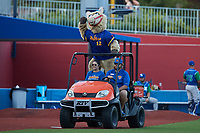 High Point Rockers mascot Hype entertains the crowd during the game against the Lexington Legends at Truist Point on June 16, 2021, in High Point, North Carolina. The Legends defeated the Rockers 2-1. (Brian Westerholt/Four Seam Images)