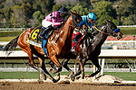 ARCADIA, CA FEBRUARY 6:  #6 Concert Tour, ridden by Joel Rosario, iand #1 Freedom Fighter, ridden by Drayden Van Dyke, battle in the stretch of the San Vicente Stakes (Grade ll) on February 6, 2021, at Santa Anita Park in Arcadia, CA.  (Photo by Casey Phillips/EclipseSportswire/CSM)