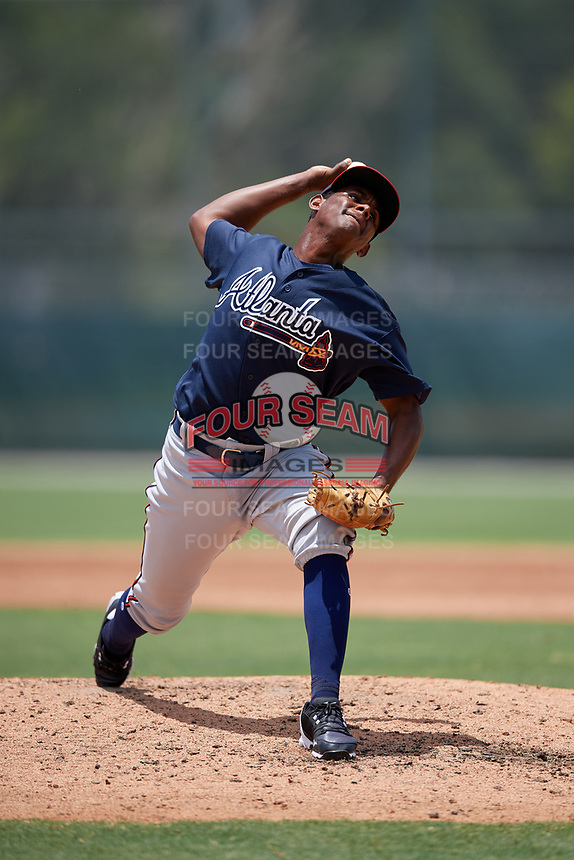GCL Braves pitcher Carlos De La Cruz (30) during a Gulf Coast League game against the GCL Pirates on July 30, 2019 at Pirate City in Bradenton, Florida.  GCL Braves defeated the GCL Pirates 10-4.  (Mike Janes/Four Seam Images)