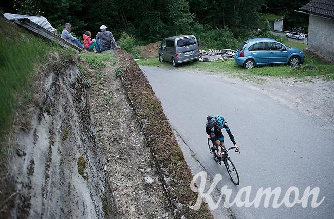Kanstantsin Siutso (BLR/SKY) up the Passo Del Mortirolo (1854m) on stage 16: Pinzolo - Aprica (174km) of the 2015 Giro d'Italia