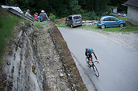 Kanstantsin Siutso (BLR/SKY) up the Passo Del Mortirolo (1854m) on stage 16: Pinzolo - Aprica (174km) of the 2015 Giro d'Italia
