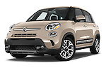 Stock pictures of low aggressive front three quarter view of a 2014 Fiat 500L Trekking 5 Door Hatchback Low Aggressive