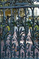 French Quarter, New Orleans, Louisiana.  Cast-iron Cornstalk Fence, 19th.-Century House of Col. Robert Short, Built 1859.  Garden District, Fourth Street.