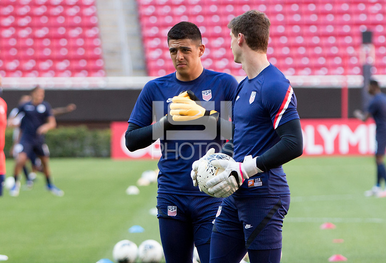 ZAPOPAN, MEXICO - MARCH 21: David Ochoa #20 and Matt Freese #12 of the United States before a game between Dominican Republic and USMNT U-23 at Estadio Akron on March 21, 2021 in Zapopan, Mexico.