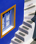Greece; Cyclades; Santorini; Ia in Santorini's North: coloured residential house - close-up