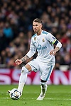 Sergio Ramos of Real Madrid in action during the UEFA Champions League 2017-18 Round of 16 (1st leg) match between Real Madrid vs Paris Saint Germain at Estadio Santiago Bernabeu on February 14 2018 in Madrid, Spain. Photo by Diego Souto / Power Sport Images