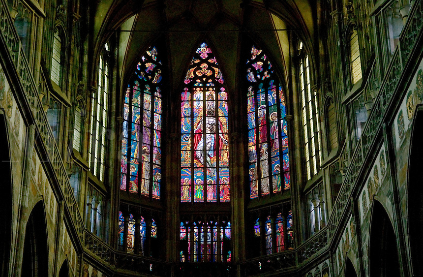 Our Lady Before Tyn, stained glass, Prague, Czech republic