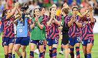 AUSTIN, TX - JUNE 16: Alex Morgan #13 of the United States,  Andi Sullivan #25, Tierna Davidson #12, and Alana Cook #26 applaud the fans after a game between Nigeria and USWNT at Q2 Stadium on June 16, 2021 in Austin, Texas.