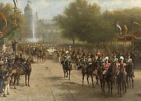Frederiksplein in Amsterdam during the entry of Queen Wilhelmina, September 5, 1898 - by Otto Eerelman, 1898-1900