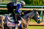 April 27, 2021: Crazy Beautiful, trained by trainer Kenneth McPeek, exercises in preparation for the Kentucky Oaks at Churchill Downs on April 27, 2021 in Louisville, Kentucky. Scott Serio/Eclipse Sportswire/CSM