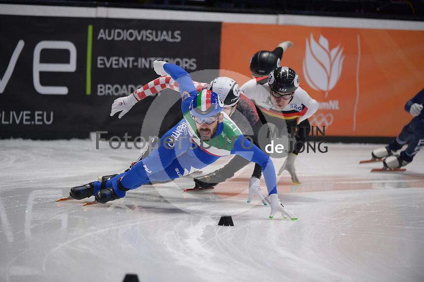SPEEDSKATING: DORDRECHT: 06-03-2021, ISU World Short Track Speedskating Championships, RF 500m Men, Yuri Confortola (ITA), Martin Kolenc (CRO), Christoph Schubert (GER), ©photo Martin de Jong